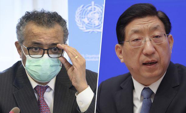 WHO ja Kiina ovat eri linjoilla uusien tutkimusten tarpeellisuudesta. Kuvassa WHO:n johtaja Ghebreyesus ja Zeng Yixin.