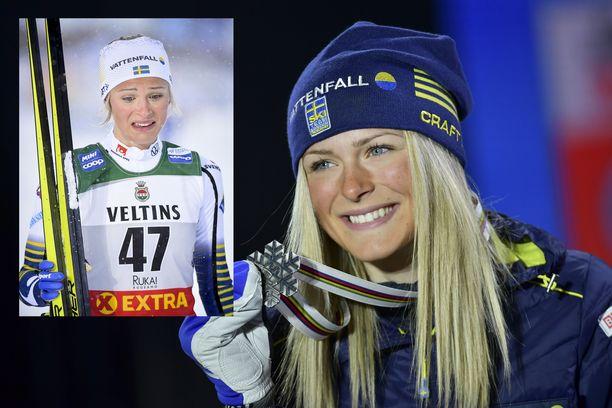 Frida Karlsson vasemmassa kuvassa Rukalla marraskuun lopussa ja suuremmassa kuvassa helmikuussa Seefeldissä.