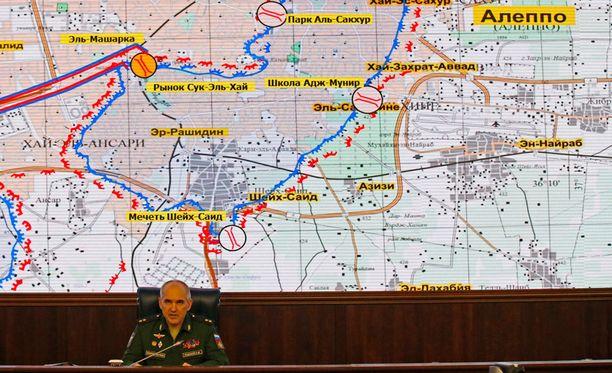 Veäjän armeijan kenraaliluutnantti Sergei Rudskoi kertoi keskiviikkona Moskovassa, että Aleppon tulitauko kestää 11 tuntia.