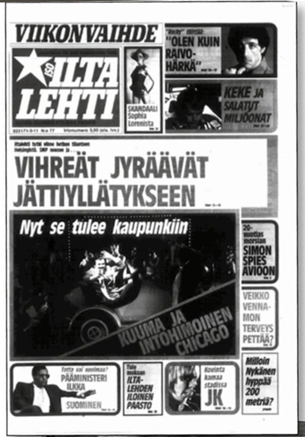 Iltalehden kansi eduskuntavaaliviikonloppuna 1983 lupasi vihreille poliittista menestystä.