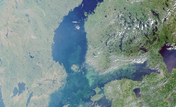 Itämeren poikkeuksellisen paha levätilanne on tallentunut Euroopan avaruusjärjestö ESAn satelliittikuviin viime kesänä.