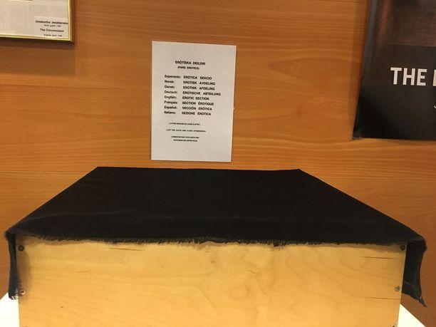 Tämä esittelypöytä on tyhjä. Takana on teksti, jossa lukee Eroottinen osio. Tämä museo ei siis todellakaan ole erotiikan paratiisi.