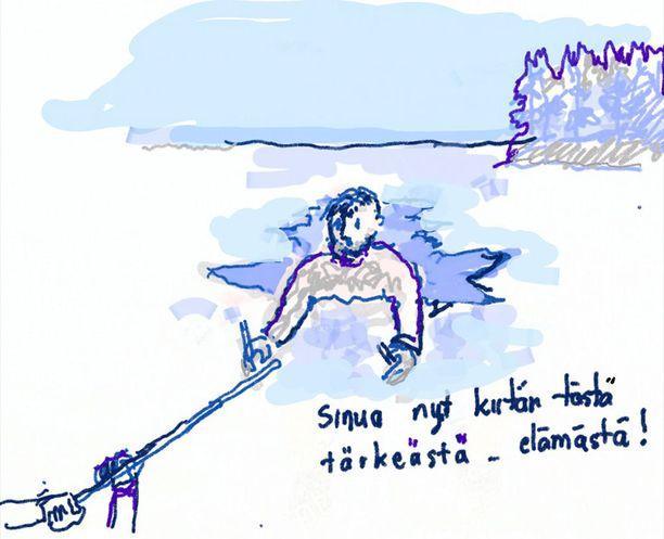 Jäihin pudonnut eläkeläismies lähetti Iltalehdelle piirroksen, jolla hän haluaa kiittää pelastajaansa.
