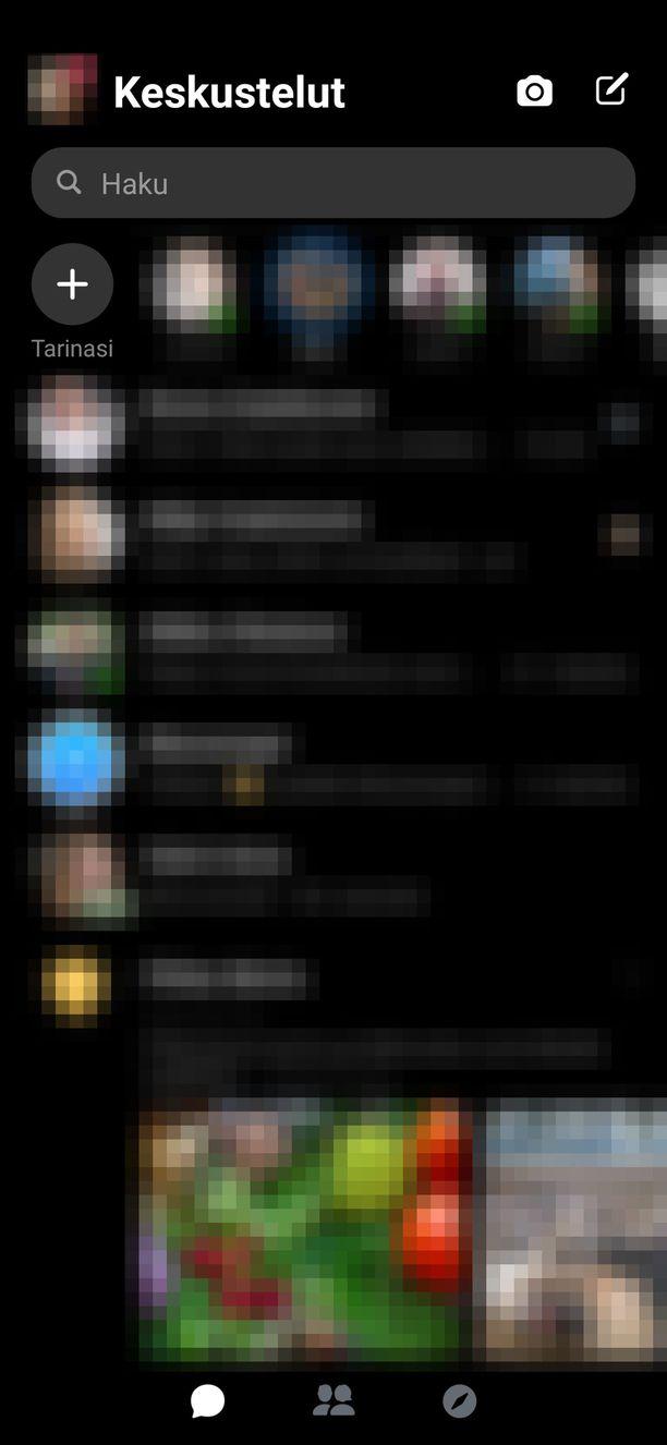 Tältä tumma tila näyttää Messengerissä.