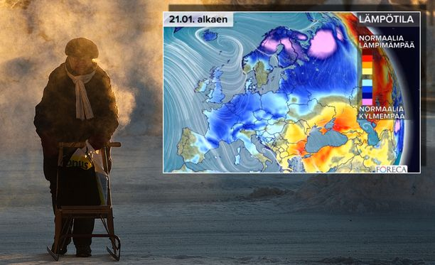 Forecan kartta sen kertoo: Nyt on kylmä. Käristyskupoli on muisto vain.