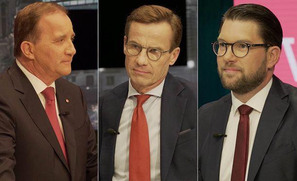 Sosiaalidemokraattien Stefan Löfven ilmoitti haluavansa jatkaa pääministerinä. Löfven kuvassa vasemmalla, keskellä maltillisen kokoomuksen Ulf Kristersson ja oikealla ruotsidemokraattien Jimmie Åkesson.