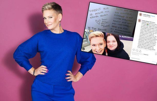 Heidi Sohlbergin iloinen olemus teki vaikutuksen masennuksesta kärsineeseen jyväskyläläiseen Tiia Eklundiin.