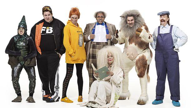 Helmi-Leena Nummelan, Mikko Penttilän, Christoffer Strandbergin, Ernest Lawsonin, Mikko Virtasen,  Jenni Kokanderin ja Terhi Suorlahden (edessä) hahmot kisaavat Sketsihahmo-kilpailun voitosta.