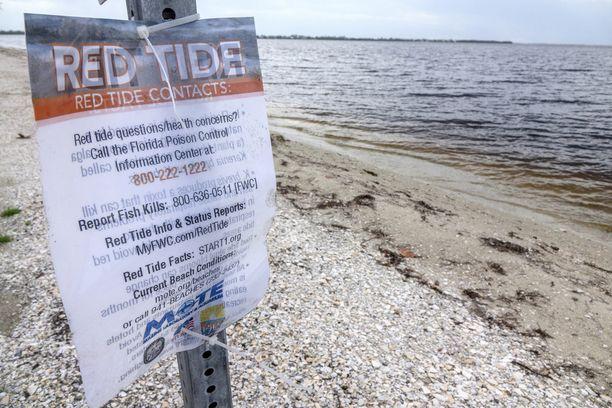 Kyltissä kehotetaan ilmoittamaan kuolleista kaloista paikallisille terveysviranomaisille.
