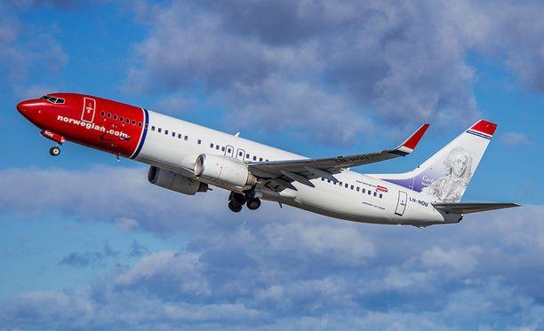 Norwegianin käytössä oleva Boeing 737-800, joka on monilta osin samantyyppinen kuin reiteille kaavailtu 737-MAX-kone.