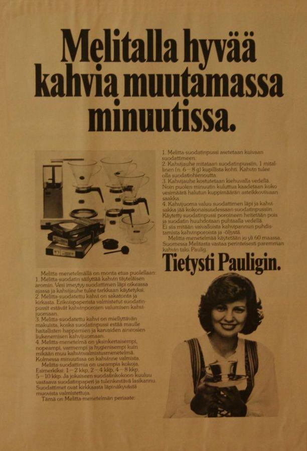 1974 mainostettiin suodatinpusseja näin.