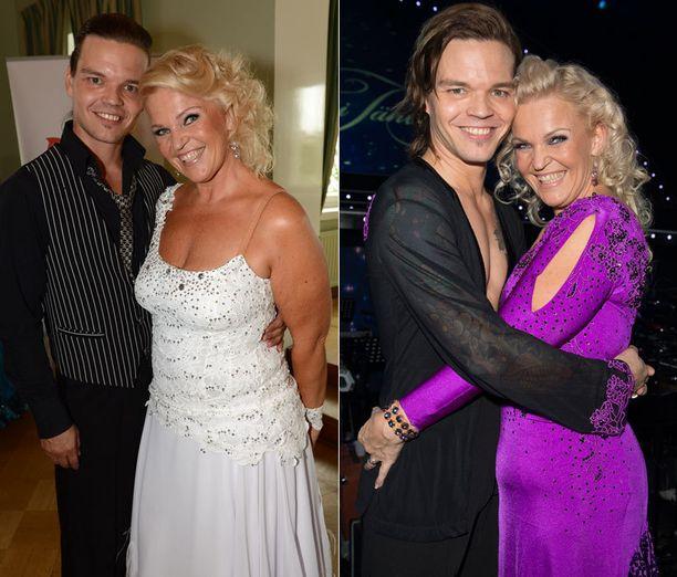 Raakel poseerasi valkoisessa puvussa elokuussa, kun treenit Tanssii tähtien kanssa -kilpailussa alkoivat. Viereisessä, marraskuussa otetussa kuvassa muutoksen huomaa.
