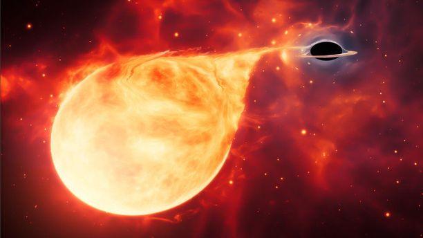 Taiteilijan näkemys siitä, miten musta aukko imaisee sisäänsä tähden.