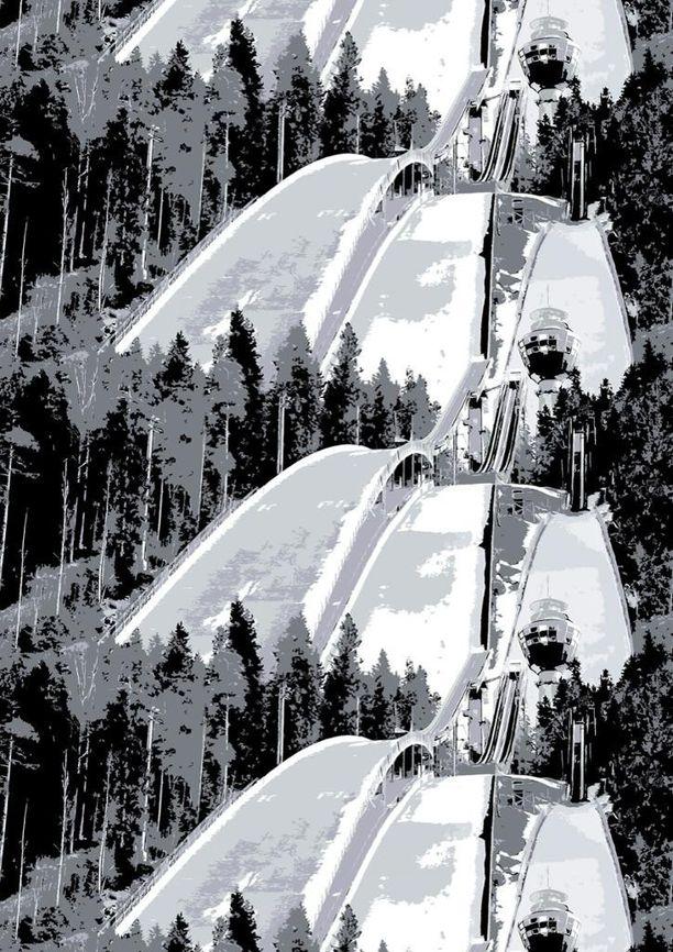 Kuopiosta ikuistettiin Puijon hyppyrimäki.