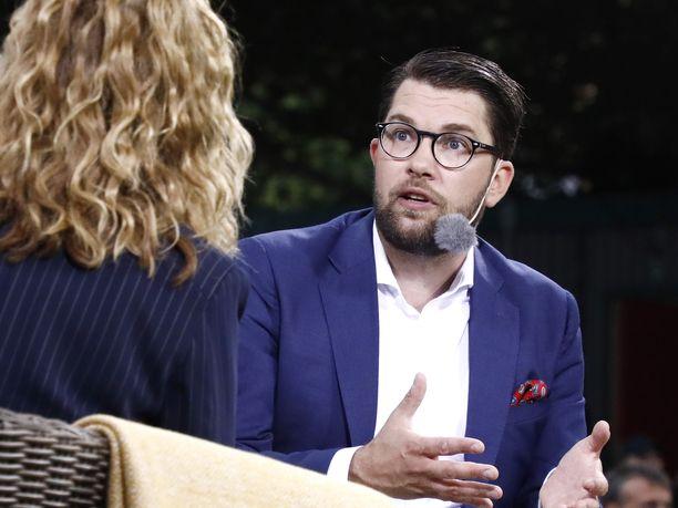 Ruotsidemokraattien puheenjohtaja Jimmie Åkesson TV4:n haastattelussa 2018.