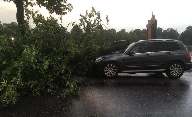 Kiira-myrsky aiheutti vahinkoa monella paikkakunnalla. Helsingin Pitkäsillanrannassa puu oli kaatunut auton päälle.