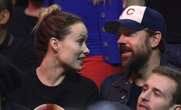 Olivia Wilde ja Jason Sudeikis koripallopelissä Los Angelesissa toissa viikolla.