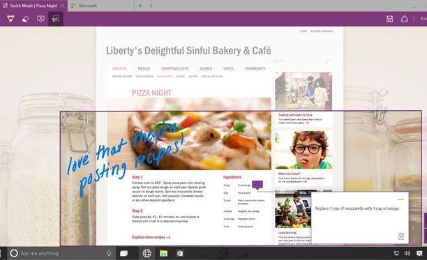 Windowsin uudessa selaimessa voi muun muassa lisätä omia muistiinpanoja verkkosivuille.