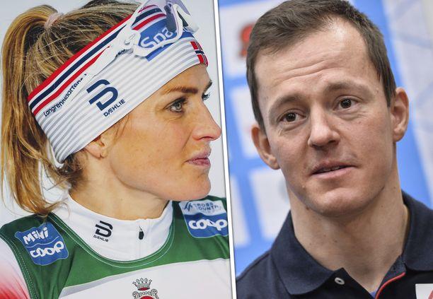 Therese Johaug jätti tervehdykset väliin, kun Sami Jauhojärvi hiihti vastaan.