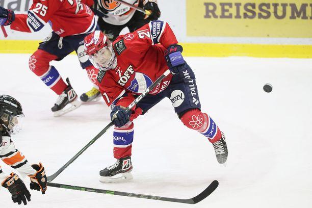 HIFK:n Ville Leskinen keräsi tehot 1+1.