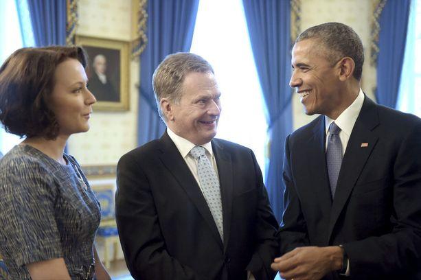 Presidentti Sauli Niinistö ja rouva Jenni Haukio tapasivat presidentti Barack Obaman Valkoisessa talossa vuonna 2016.