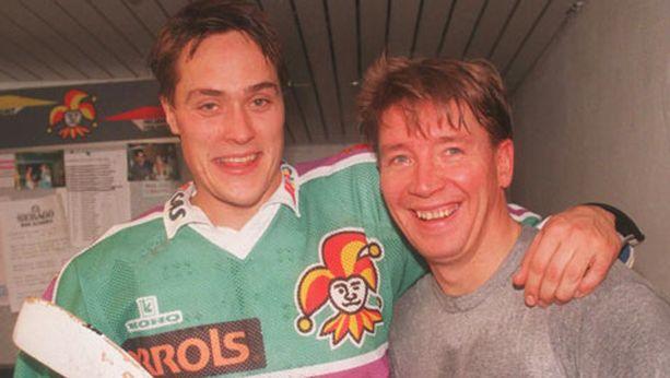 Teemu Selänne ja Jari Kurri pelasivat yhtä aikaa Jokereissa kaudella 1994-95.