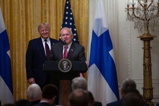 Presidentti Donald Trump antoi puheenvuoron myös Suomen-suurlähettiläälleen Robert Pencelle Sauli Niinistön viime lokakuisen Washingtonin-työvierailun yhteydessä.