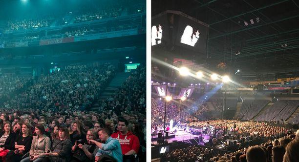 Vain elämää -konsertti veti tänä vuonna Hartwall-areenan täyteen. Toisin oli viime vuonna.