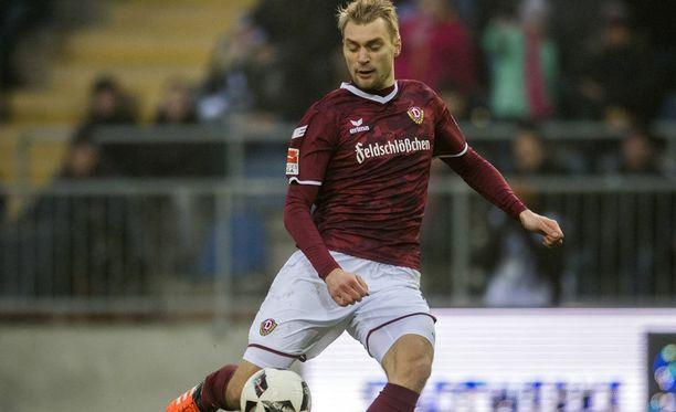 Tim Väyrynen pelasi noin kolme minuuttia Dynamo Dresdenissä syyskaudella.