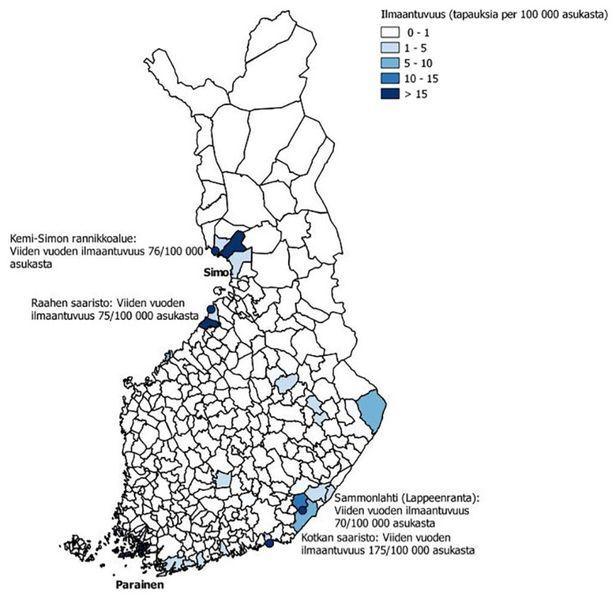 Etelä-Lapin rannikkoalueilla on nykyään verrattain korkea riski saada puutiaisaivokuume.