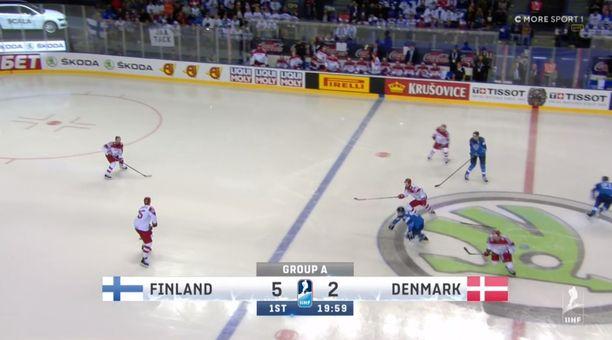 Leijonien ja Tanskan välinen MM-ottelu alkoi tilanteesta 0–0, vaikka tulospalkki muuta kertoikin.