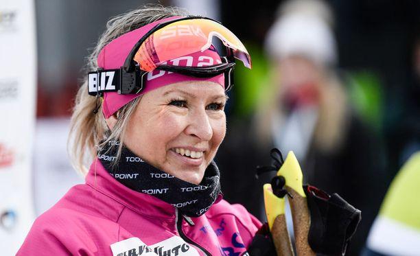 Riitta-Liisa Roponen oli lauantaina nopein kympin vapaalla Vantaan SM-kisoissa.