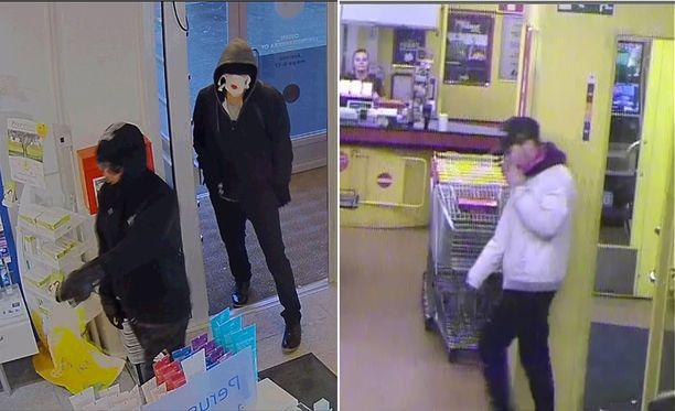 Ainakin kuvissa näkyviä henkilöitä epäillään törkeistä ryöstöistä.