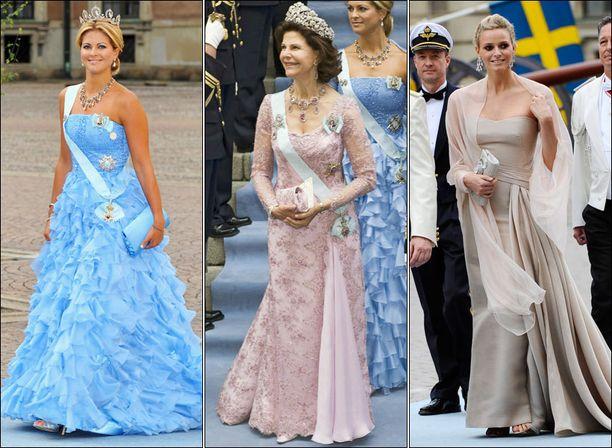 Ruotsin Madeleine ja Silvia edustivat kuninkaallisen ylväinä ja kauniina. Ruhtinas Albertin naisystävä Charlene Wittstock oli yksi hääjuhlan eleganteimmista.