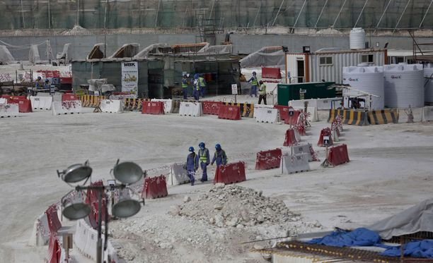 Kuva Al-Wakra-stadionin rakennustyömaalta.