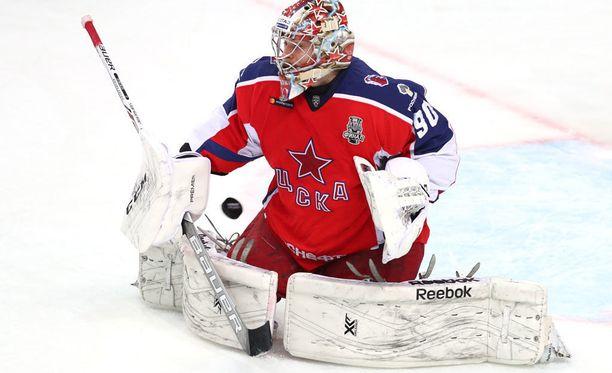 ZSKA:n maalivahti Ilja Sorokin on ollut iskussa KHL:n pudotuspeleissä.