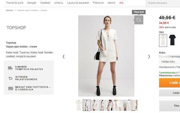 Samanlaista Topshopin mekkoa myytiin Zalandolla.