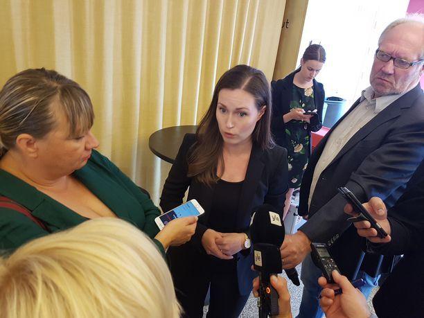 Liikenne- ja viestintäministeri Sanna Marin SDP:n ministeriryhmän ja eduskuntaryhmän johdon kesäkokouksen tiedotustilaisuudessa syyskuussa 2019.