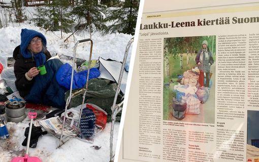"""Joroisten Lehden harvinainen haastattelu vuosien takaa paljastaa: Näin Leena Kiviharju, 71,  päätyi kiertämään taivasalle """"Laukku-Leenana"""""""