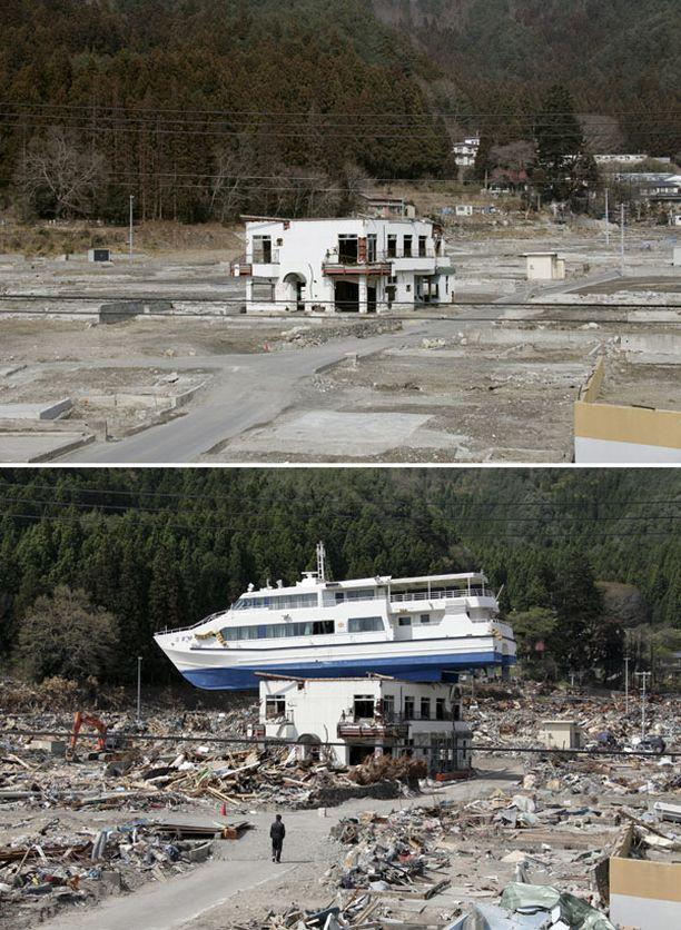 Alakuvassa hyökyallon matkailumajan katolle pyyhkäisemä vene Otsuchissa Pohjois-Japanissa. Yläkuvassa sama alue kuvattuna helmikuun puolivälissä tänä vuonna.