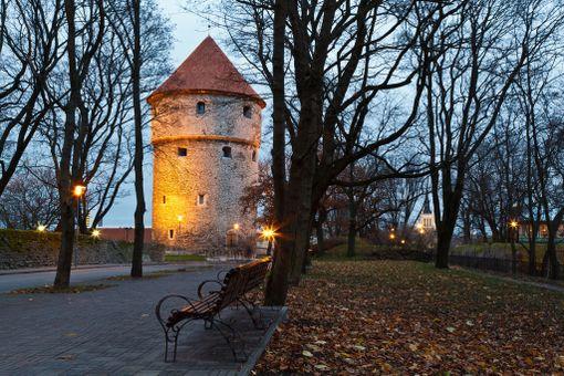 Kiek in de Kök -torni valaistuna pimenevään iltaan.