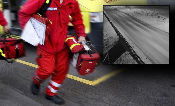 Kelikameran mukaan nelostiellä näytti vallitsevan onnettomuusaikaan melko sohjoinen keli. Taustalla kuvituskuva.