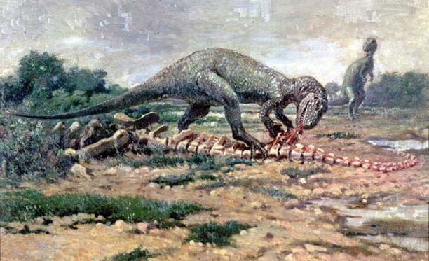 Taiteilijan näkemys allosauruksen ruokailuhetkestä 150 miljoonaa vuotta sitten.
