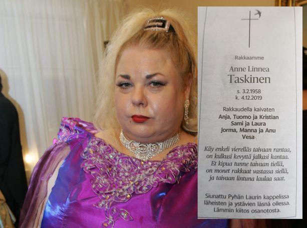 """Anne """"Heinäsirkka"""" Taskinen tunnettiin laulajana, toimittajana ja näyttelijänä."""