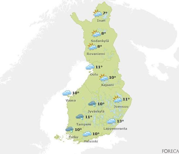 Vappuaattona iltapäivällä sää on epävakainen koko Suomessa. Etelässä sataa todennäköisesti vettä.
