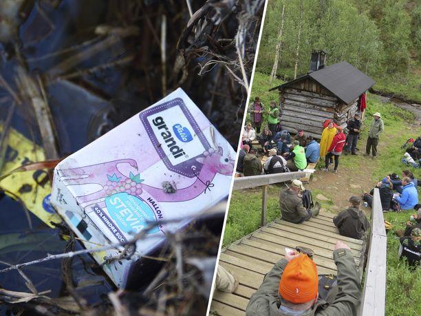 Kasvavat kävijämäärät tietävät kansallispuistoissa myös kasvavaa roskamäärää. Oikeanpuoleinen kuva Lemmenjoen kansallispuistosta.