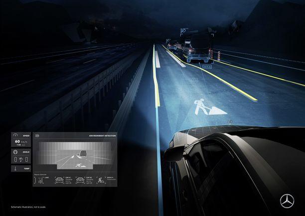 Kuvaa ei ole maalattu tien pintaan, vaan valo heijastaa sen. Huomaa myös edempänä valkoiset viivat, jotka kertovat oman auton leveyden suhteessa tilaan. Mahtuuko?