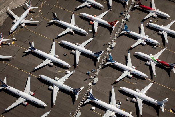 Periaatteessa valmiita koneita on parkkeerattu Boeingin tehtaalle Seattlessa Yhdysvalloissa.