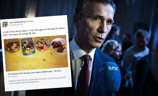 Norjan ex-pääministeri Jens Stoltenberg jakoi kuvan koskemattomista karkkikulhoista myös omalla Facebook-seinällään. Pääministeri ilmoitti tuntevansa surua tapauksen vuoksi.