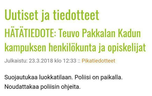 Oulun ammattikorkeakoulun intranetissä julkaistiin perjantaina hätätiedote.